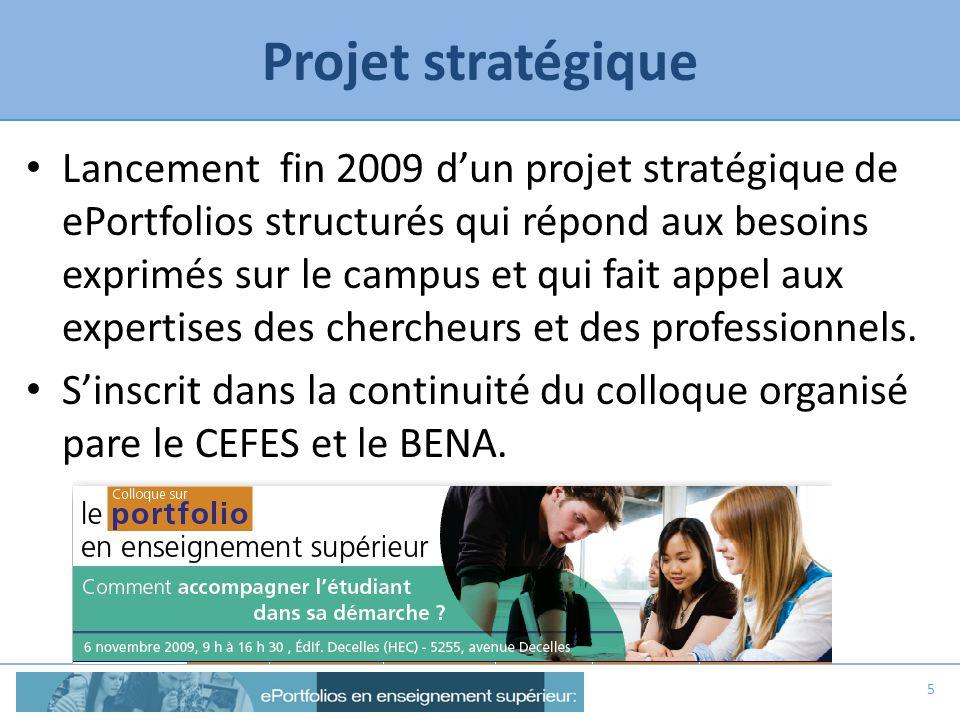 Projet stratégique Lancement fin 2009 dun projet stratégique de ePortfolios structurés qui répond aux besoins exprimés sur le campus et qui fait appel