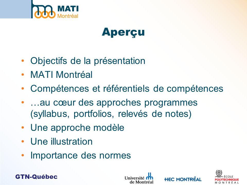GTN-Québec Aperçu Objectifs de la présentation MATI Montréal Compétences et référentiels de compétences …au cœur des approches programmes (syllabus, p