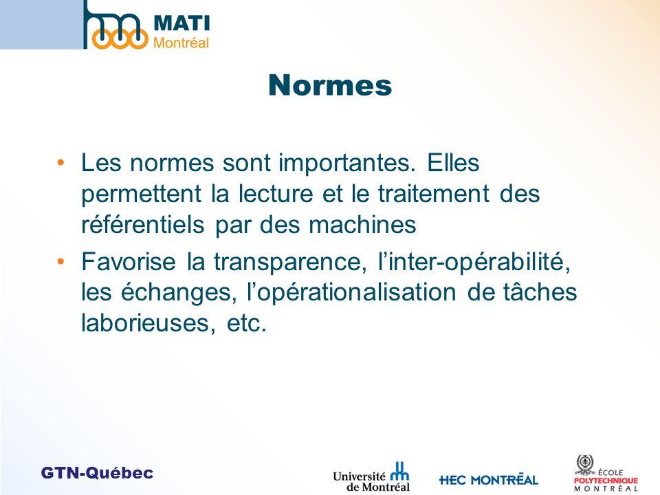 GTN-Québec Normes Les normes sont importantes. Elles permettent la lecture et le traitement des référentiels par des machines Favorise la transparence