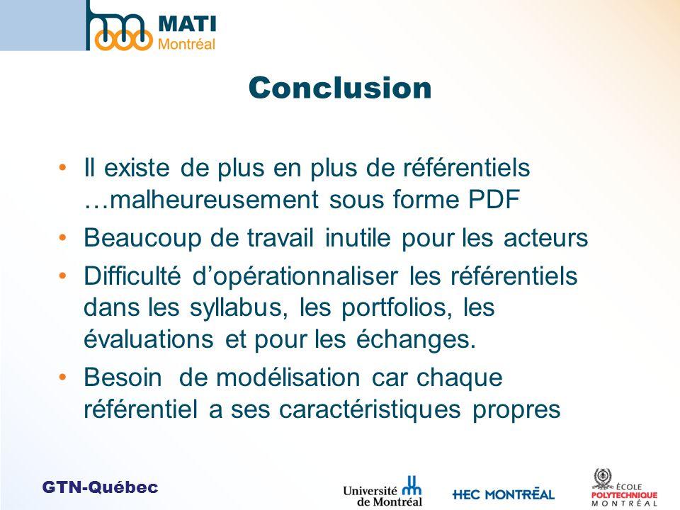 GTN-Québec Conclusion Il existe de plus en plus de référentiels …malheureusement sous forme PDF Beaucoup de travail inutile pour les acteurs Difficult