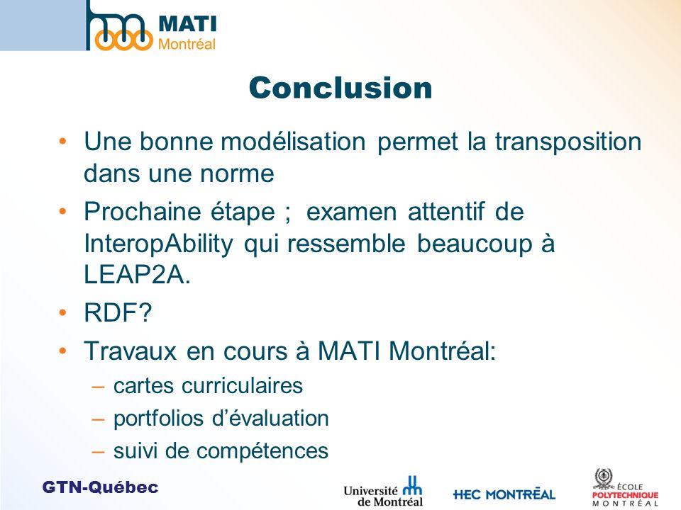 GTN-Québec Conclusion Une bonne modélisation permet la transposition dans une norme Prochaine étape ; examen attentif de InteropAbility qui ressemble