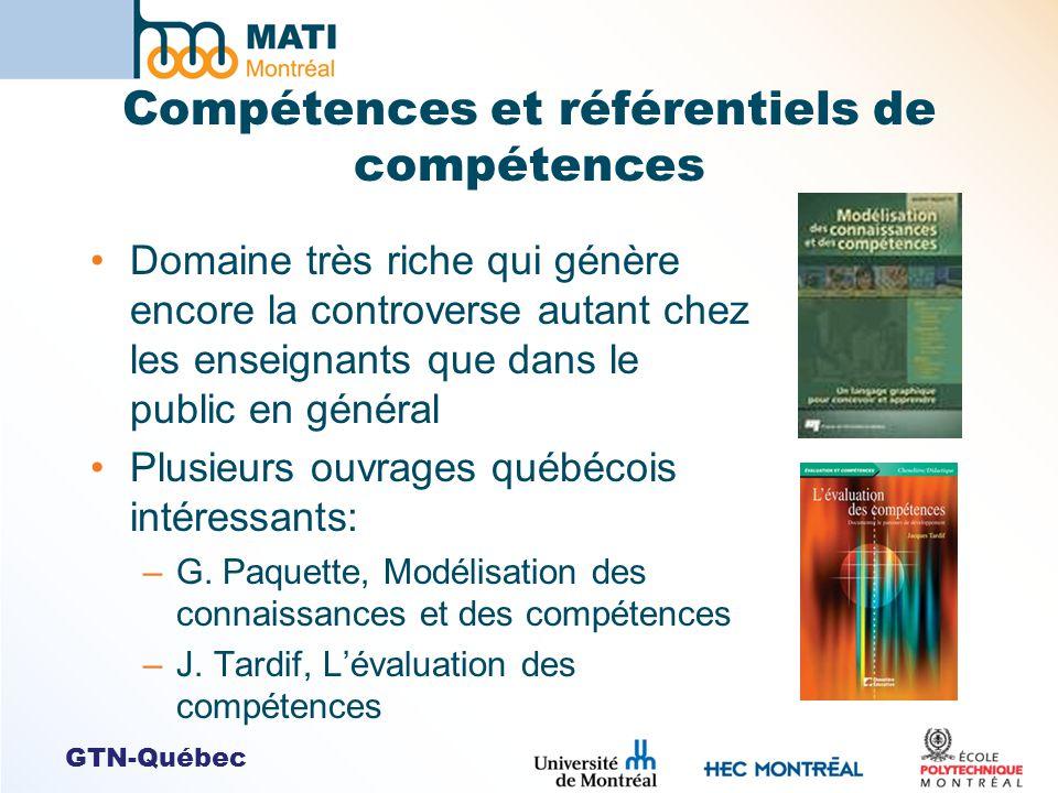 GTN-Québec Compétences et référentiels de compétences Domaine très riche qui génère encore la controverse autant chez les enseignants que dans le publ