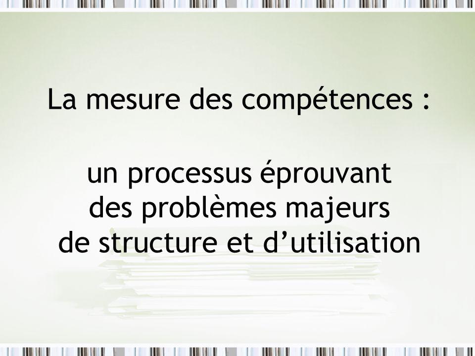 La mesure des compétences : un processus éprouvant des problèmes majeurs de structure et dutilisation