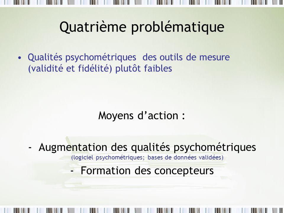 Quatrième problématique Qualités psychométriques des outils de mesure (validité et fidélité) plutôt faibles Moyens daction : -Augmentation des qualités psychométriques (logiciel psychométriques; bases de données validées) -Formation des concepteurs