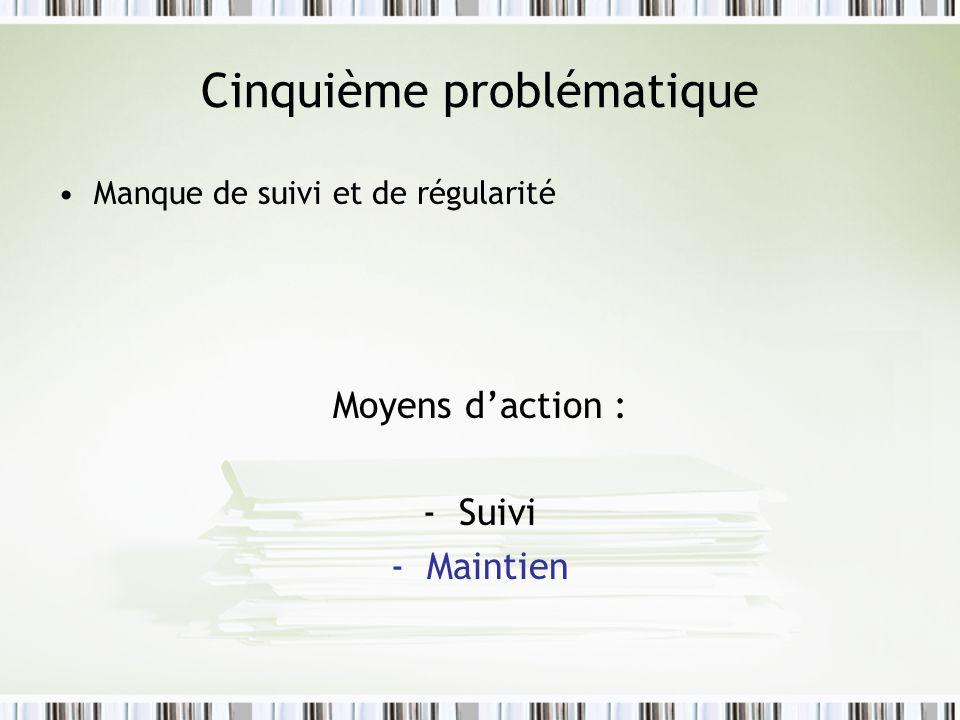 Cinquième problématique Manque de suivi et de régularité Moyens daction : -Suivi -Maintien