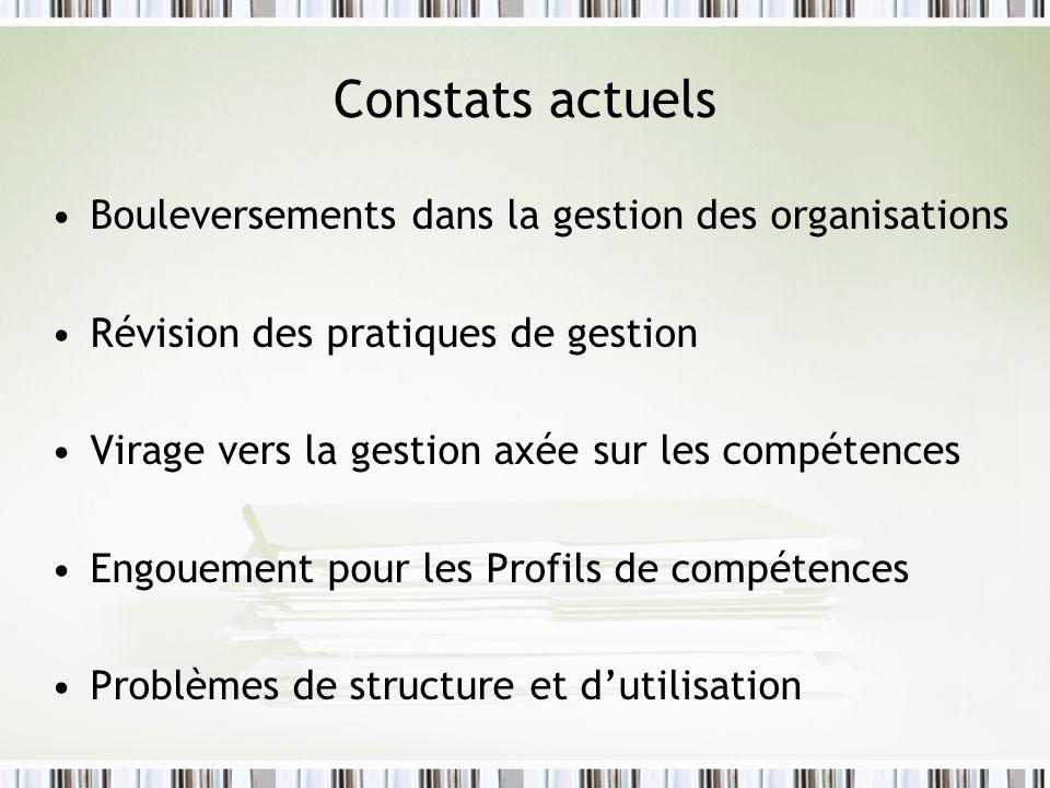 Constats actuels Bouleversements dans la gestion des organisations Révision des pratiques de gestion Virage vers la gestion axée sur les compétences Engouement pour les Profils de compétences Problèmes de structure et dutilisation