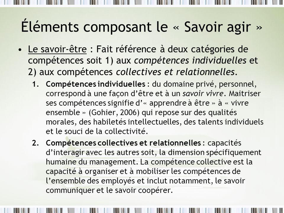 Éléments composant le « Savoir agir » Le savoir-être : Fait référence à deux catégories de compétences soit 1) aux compétences individuelles et 2) aux compétences collectives et relationnelles.