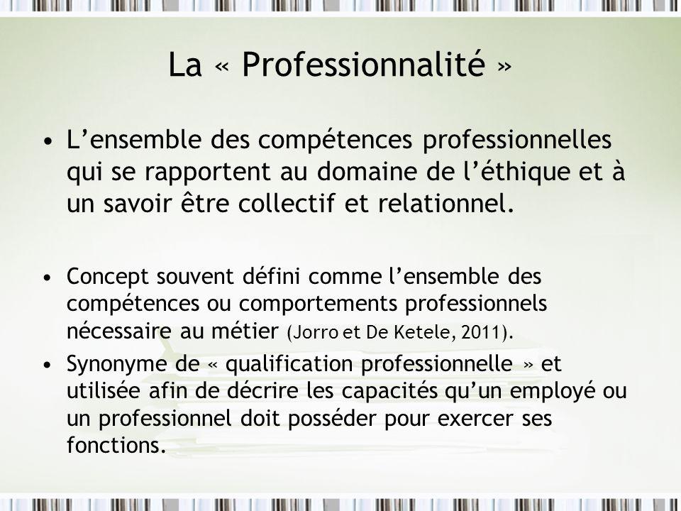 La « Professionnalité » Lensemble des compétences professionnelles qui se rapportent au domaine de léthique et à un savoir être collectif et relationnel.