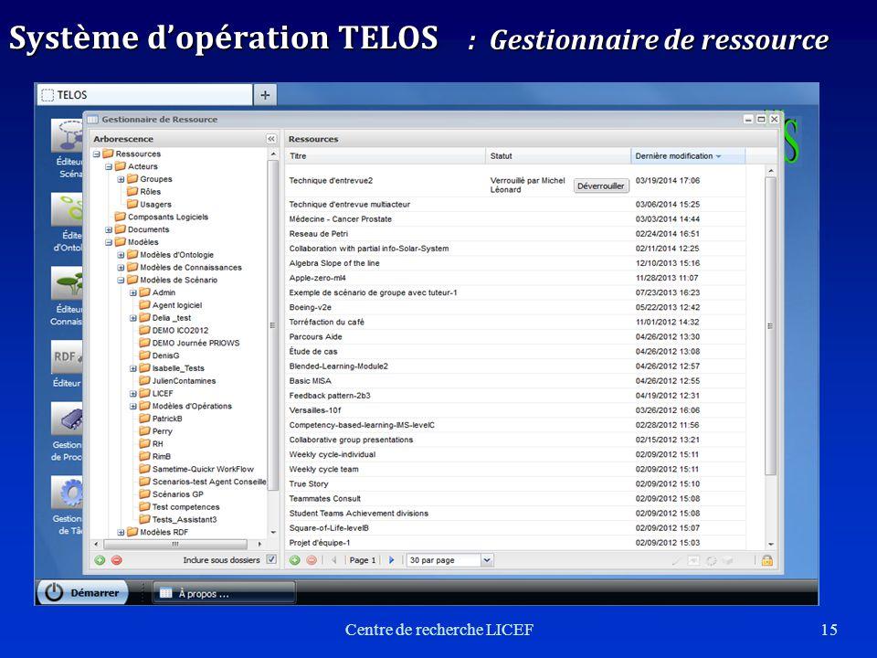 15 Système dopération TELOS : Gestionnaire de ressource