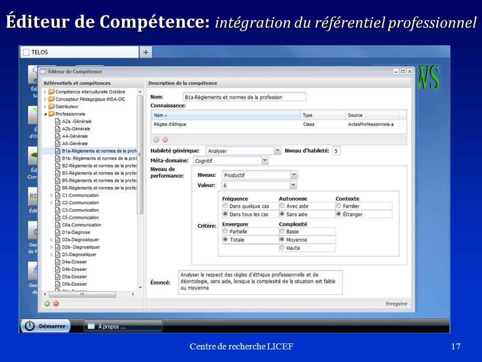 Centre de recherche LICEF17 Éditeur de Compétence: intégration du référentiel professionnel