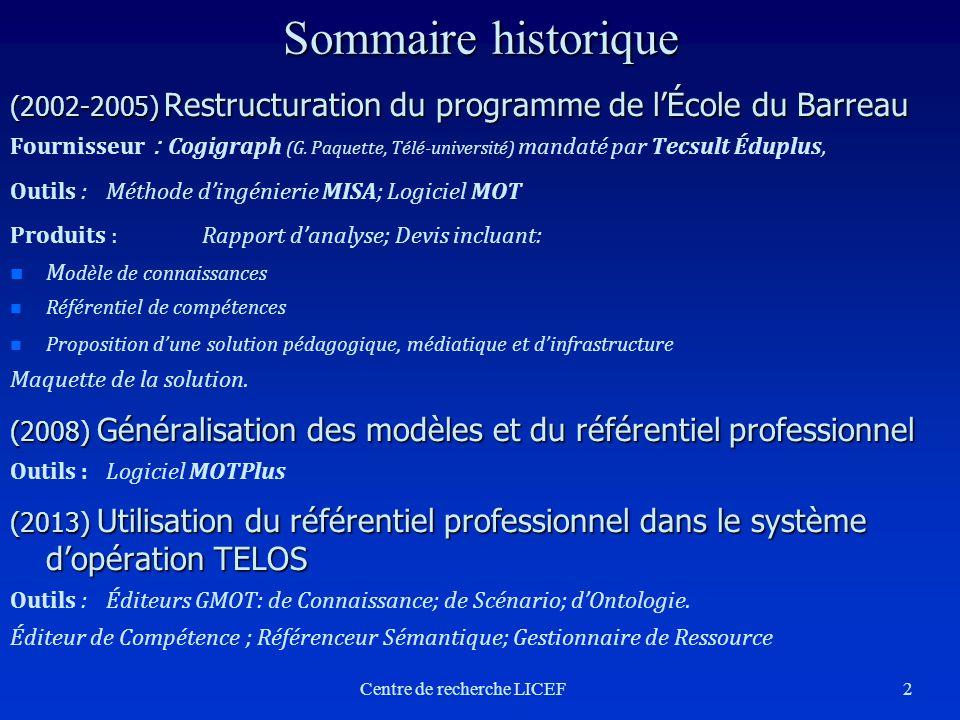 2 Sommaire historique (2002-2005) Restructuration du programme de lÉcole du Barreau Fournisseur : Cogigraph (G. Paquette, Télé-université) mandaté par
