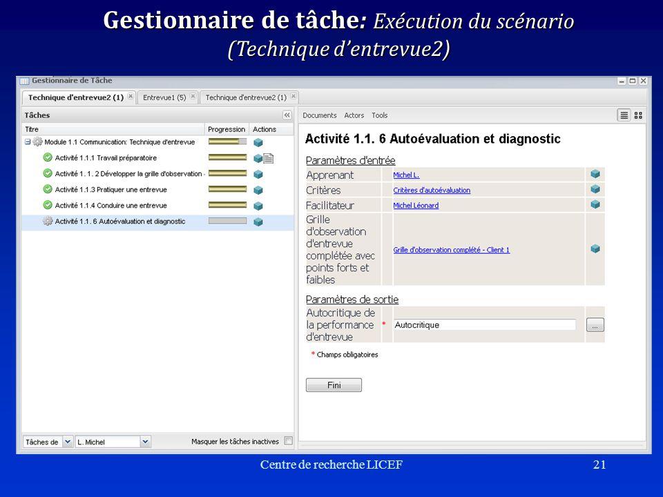 Centre de recherche LICEF21 Gestionnaire de tâche: Exécution du scénario (Technique dentrevue2 )