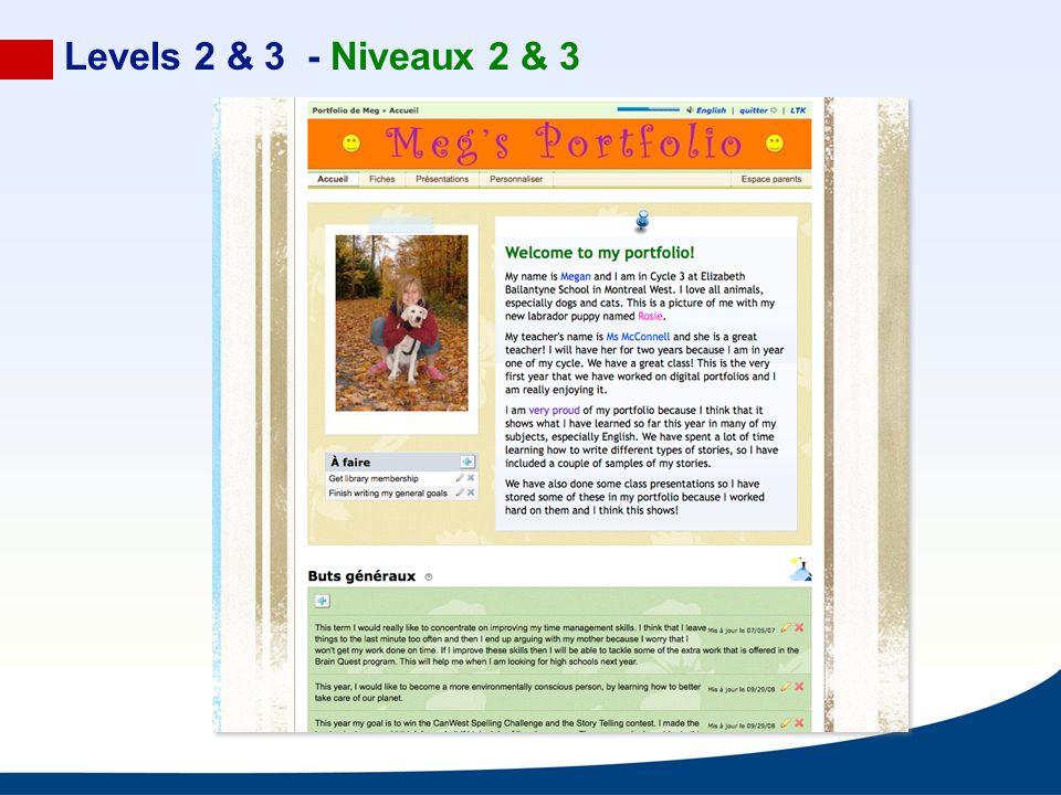 Levels 2 & 3 - Niveaux 2 & 3