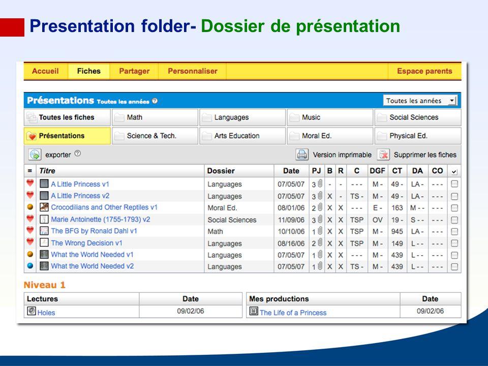 Presentation folder- Dossier de présentation