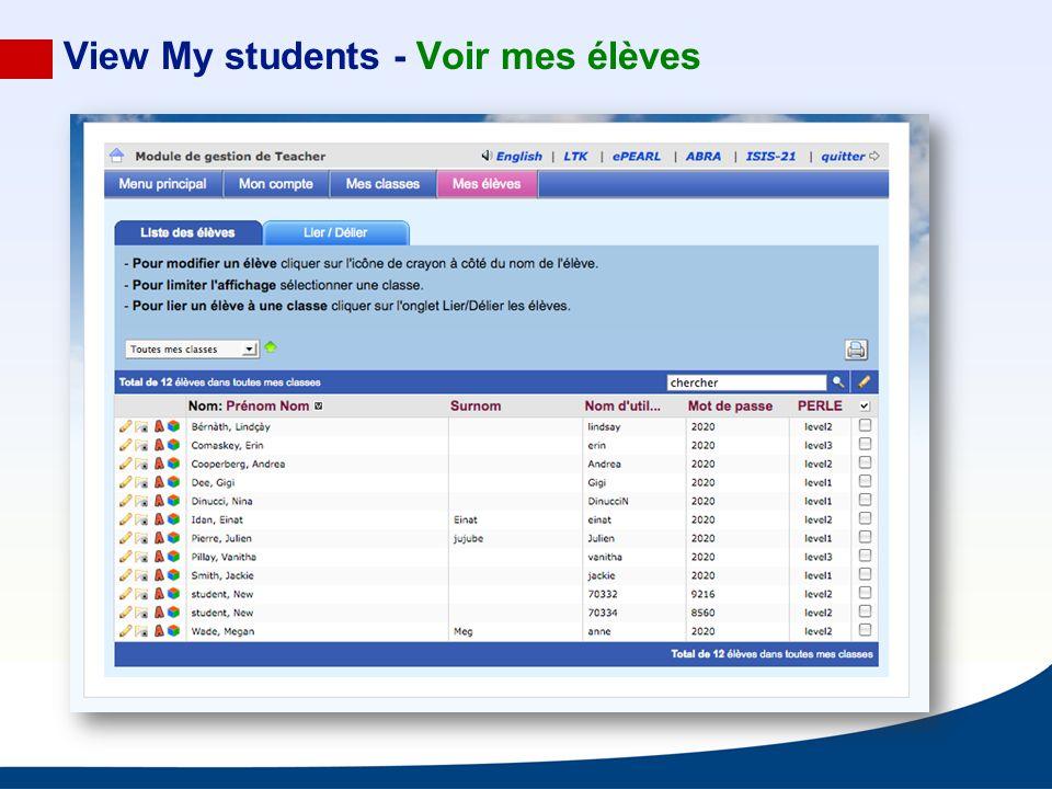 View My students - Voir mes élèves