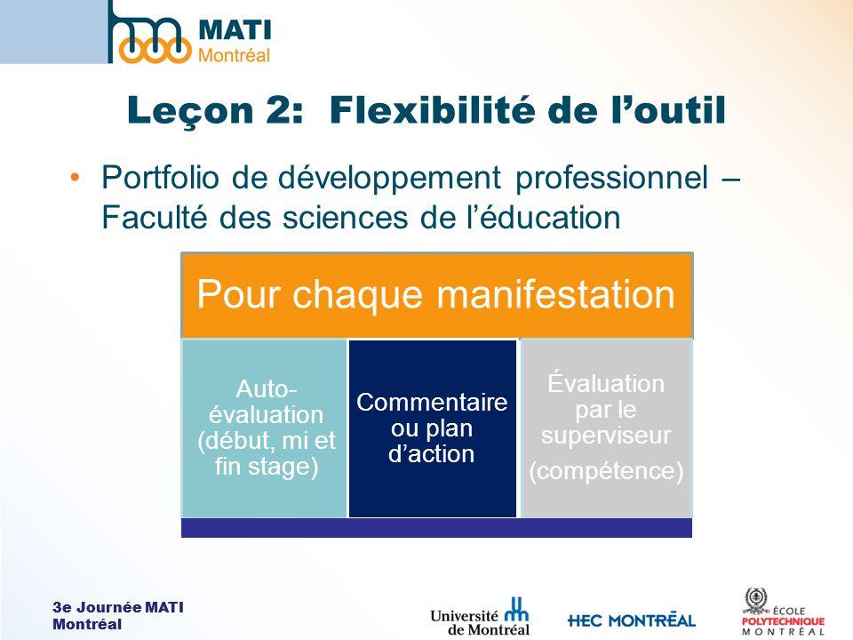 3e Journée MATI Montréal Leçon 2: Flexibilité de loutil Portfolio de développement professionnel – Faculté des sciences de léducation Pour chaque mani