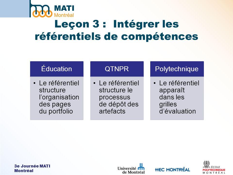3e Journée MATI Montréal Leçon 3 : Intégrer les référentiels de compétences Éducation Le référentiel structure lorganisation des pages du portfolio QT