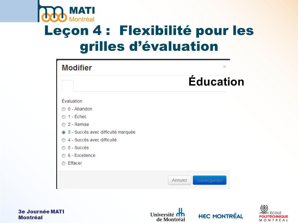 3e Journée MATI Montréal Leçon 4 : Flexibilité pour les grilles dévaluation Éducation