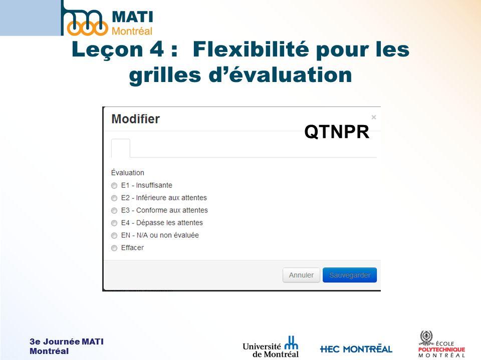 3e Journée MATI Montréal Leçon 4 : Flexibilité pour les grilles dévaluation QTNPR