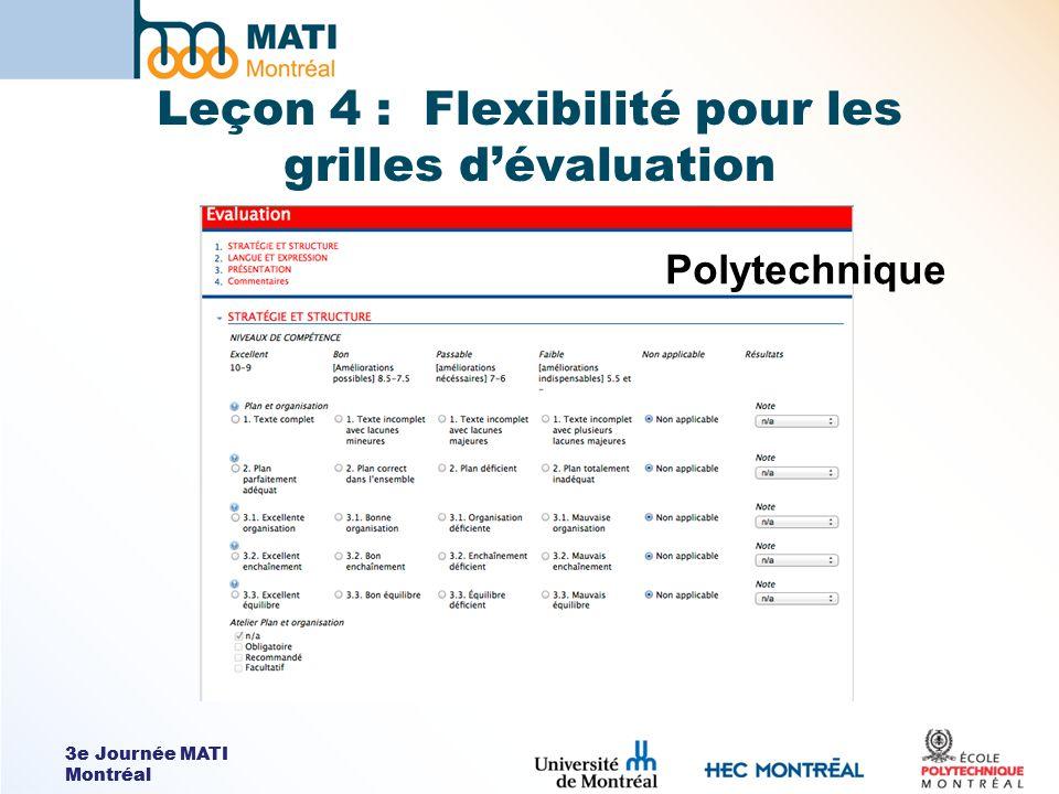 3e Journée MATI Montréal Leçon 4 : Flexibilité pour les grilles dévaluation Polytechnique