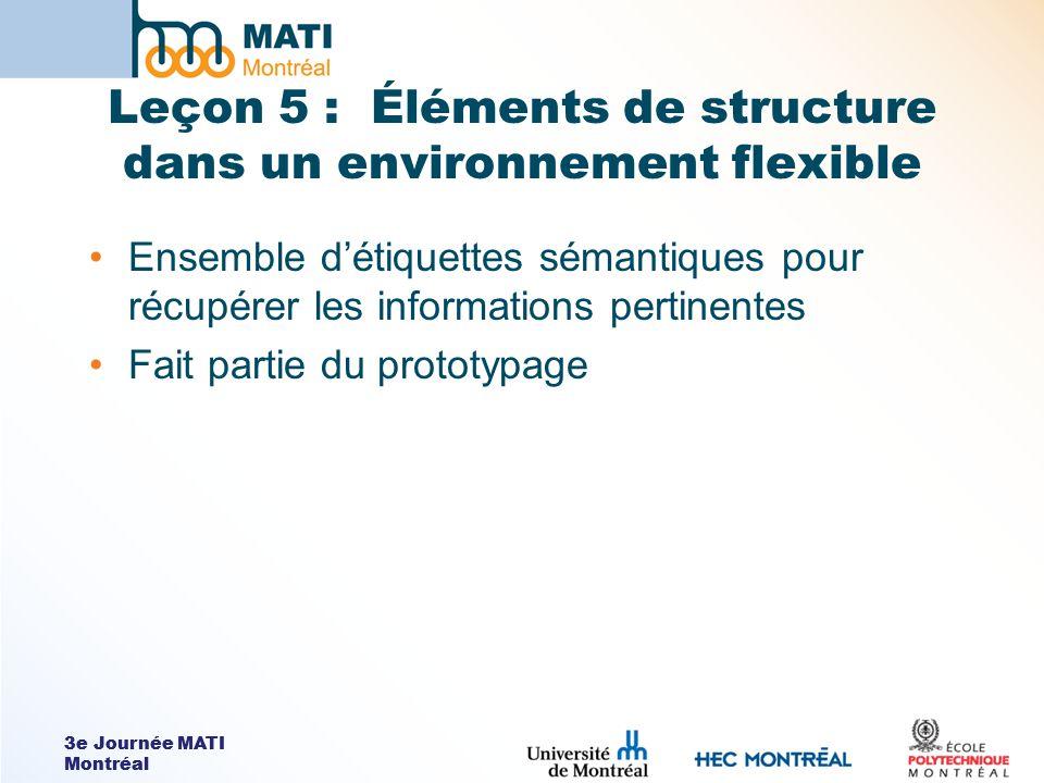 3e Journée MATI Montréal Leçon 5 : Éléments de structure dans un environnement flexible Ensemble détiquettes sémantiques pour récupérer les informatio