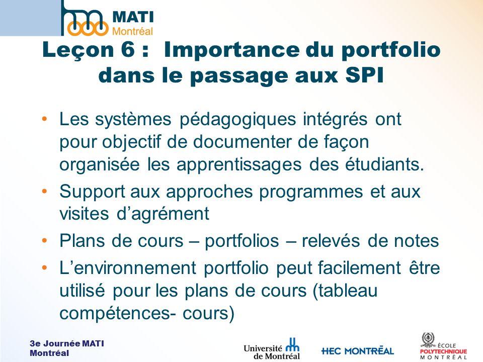 3e Journée MATI Montréal Leçon 6 : Importance du portfolio dans le passage aux SPI Les systèmes pédagogiques intégrés ont pour objectif de documenter