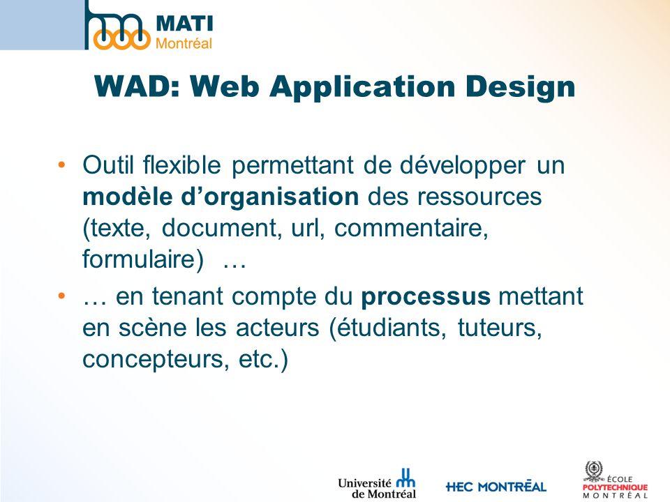 WAD: Web Application Design Outil flexible permettant de développer un modèle dorganisation des ressources (texte, document, url, commentaire, formulaire) … … en tenant compte du processus mettant en scène les acteurs (étudiants, tuteurs, concepteurs, etc.)