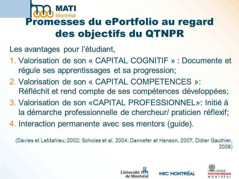 Promesses du ePortfolio au regard des objectifs du QTNPR Les avantages pour létudiant, 1.Valorisation de son « CAPITAL COGNITIF » : Documente et régule ses apprentissages et sa progression; 2.Valorisation de son « CAPITAL COMPETENCES »: Réfléchit et rend compte de ses compétences développées; 3.Valorisation de son «CAPITAL PROFESSIONNEL»: Initié à la démarche professionnelle de chercheur/ praticien réflexif; 4.Interaction permanente avec ses mentors (guide).