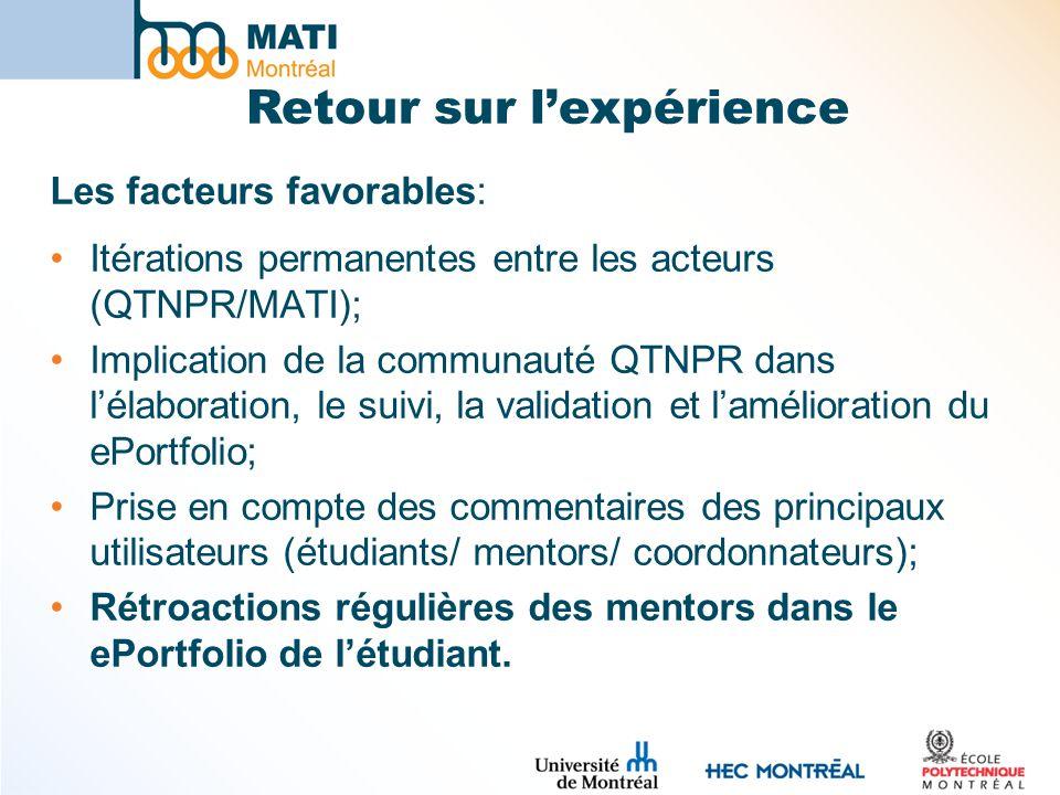 Les facteurs favorables: Itérations permanentes entre les acteurs (QTNPR/MATI); Implication de la communauté QTNPR dans lélaboration, le suivi, la validation et lamélioration du ePortfolio; Prise en compte des commentaires des principaux utilisateurs (étudiants/ mentors/ coordonnateurs); Rétroactions régulières des mentors dans le ePortfolio de létudiant.