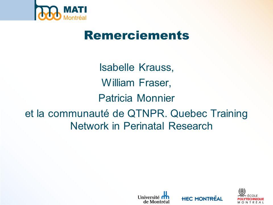 Remerciements Isabelle Krauss, William Fraser, Patricia Monnier et la communauté de QTNPR.