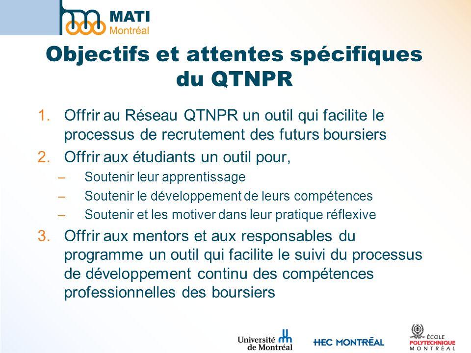 Objectifs et attentes spécifiques du QTNPR 1.Offrir au Réseau QTNPR un outil qui facilite le processus de recrutement des futurs boursiers 2.Offrir aux étudiants un outil pour, –Soutenir leur apprentissage –Soutenir le développement de leurs compétences –Soutenir et les motiver dans leur pratique réflexive 3.Offrir aux mentors et aux responsables du programme un outil qui facilite le suivi du processus de développement continu des compétences professionnelles des boursiers