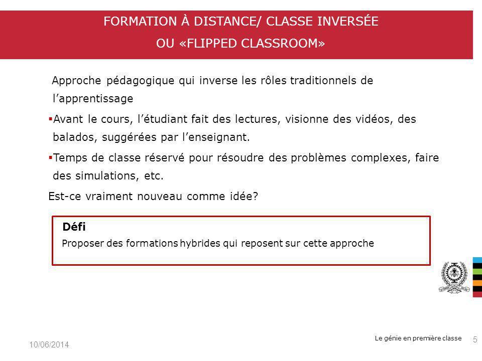 Le génie en première classe Exemples : Coursera, Udacity, edX, EDUlib (HEC Montréal) Formation gratuite pour linstant, mais modèle économique appelé à évoluer Vitrine pour les grandes universités FORMATION À DISTANCE/ COURS EN LIGNE OUVERTS AUX MASSES (CLOM) OU MOOC (MASSIVE OPEN ONLINE COURSE) 10/06/2014 6 Défis Dans un contexte de budget limité, comment financer ces cours.