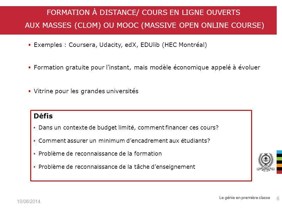 Le génie en première classe Exemples : Coursera, Udacity, edX, EDUlib (HEC Montréal) Formation gratuite pour linstant, mais modèle économique appelé à