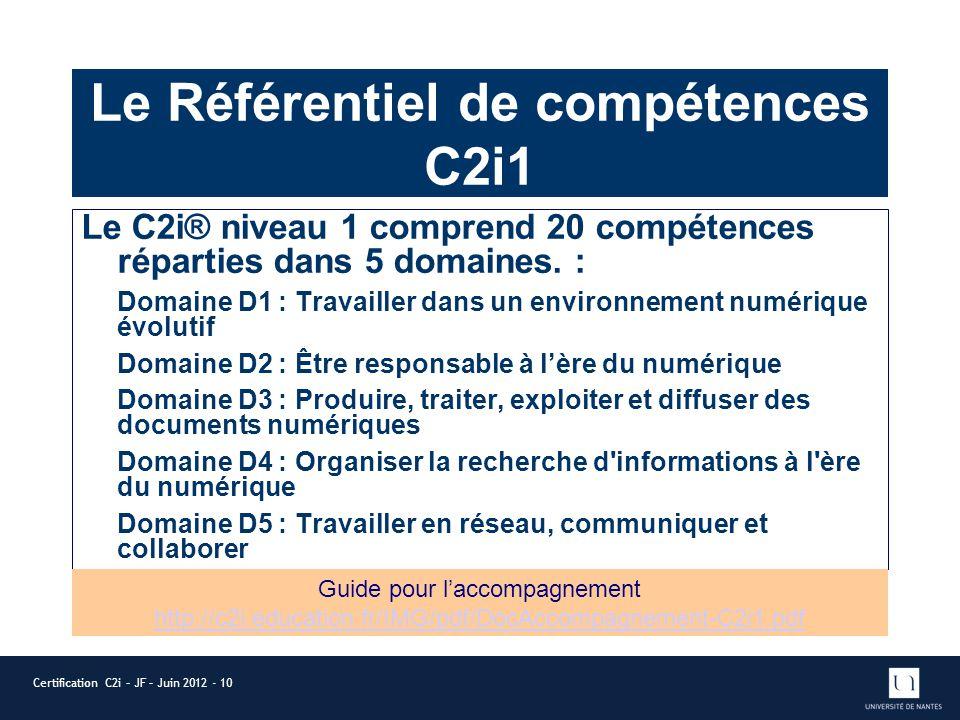 Le Référentiel de compétences C2i1 Le C2i® niveau 1 comprend 20 compétences réparties dans 5 domaines. : Domaine D1 : Travailler dans un environnement