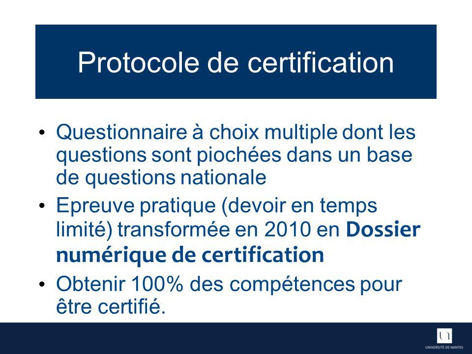 Protocole de certification Questionnaire à choix multiple dont les questions sont piochées dans un base de questions nationale Epreuve pratique (devoir en temps limité) transformée en 2010 en Dossier numérique de certification Obtenir 100% des compétences pour être certifié.