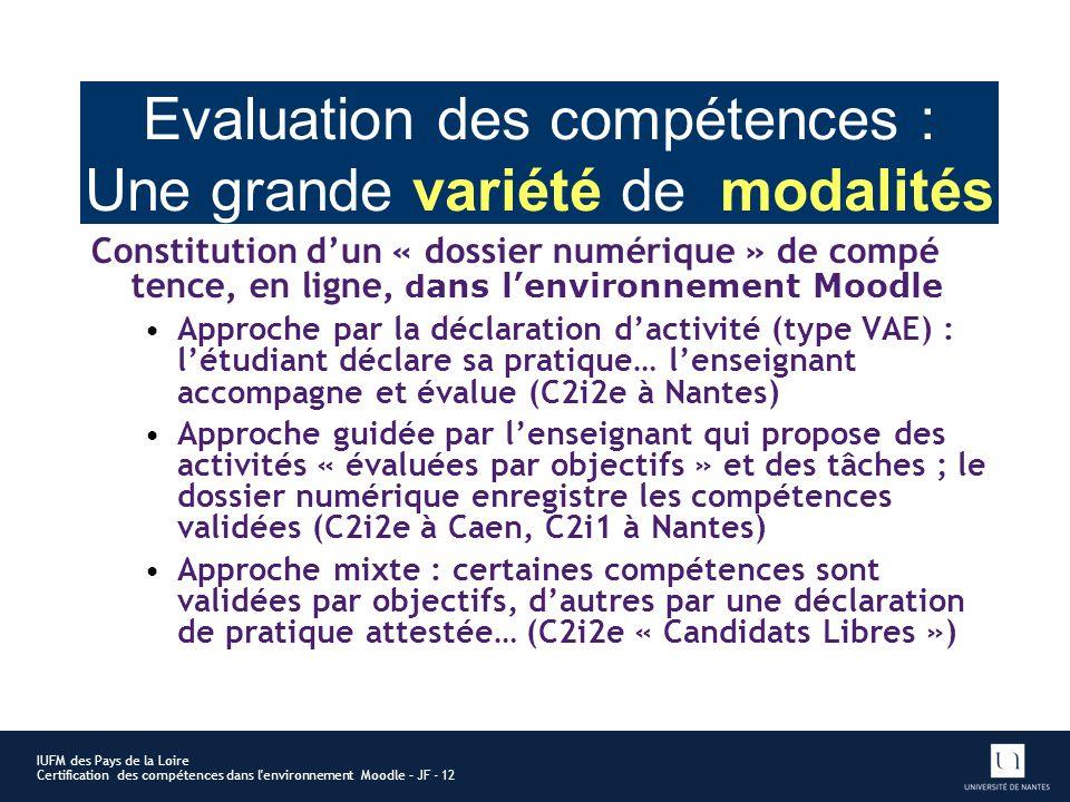 Evaluation des compétences : Une grande variété de modalités Constitution dun « dossier numérique » de compé tence, en ligne, d ans lenvironnement Moo
