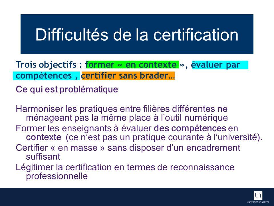Difficultés de la certification Ce qui est problématique Harmoniser les pratiques entre filières différentes ne ménageant pas la même place à loutil n