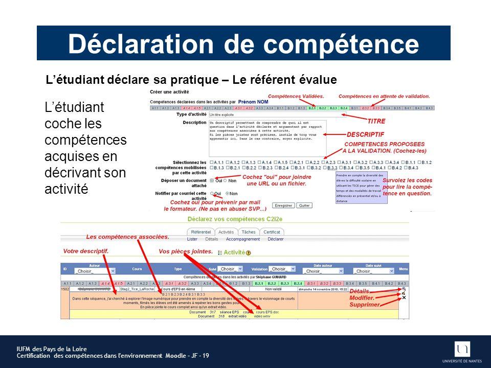 Déclaration de compétence IUFM des Pays de la Loire Certification des compétences dans l'environnement Moodle – JF - 19 Létudiant coche les compétence