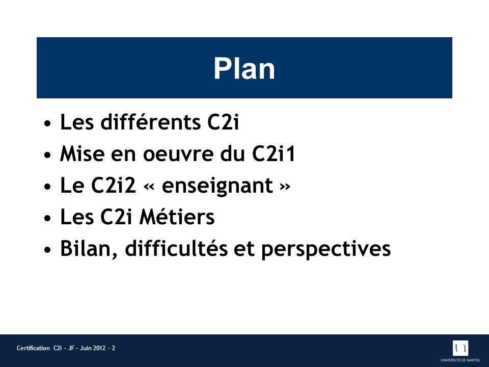 Plan Les différents C2i Mise en oeuvre du C2i1 Le C2i2 « enseignant » Les C2i Métiers Bilan, difficultés et perspectives Certification C2i – JF – Juin