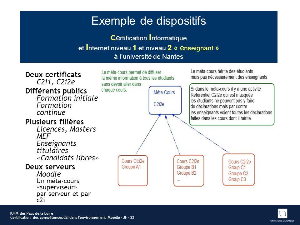 Exemple de dispositifs Deux certificats C2i1, C2i2e Différents publics Formation initiale Formation continue Plusieurs filières Licences, Masters MEF