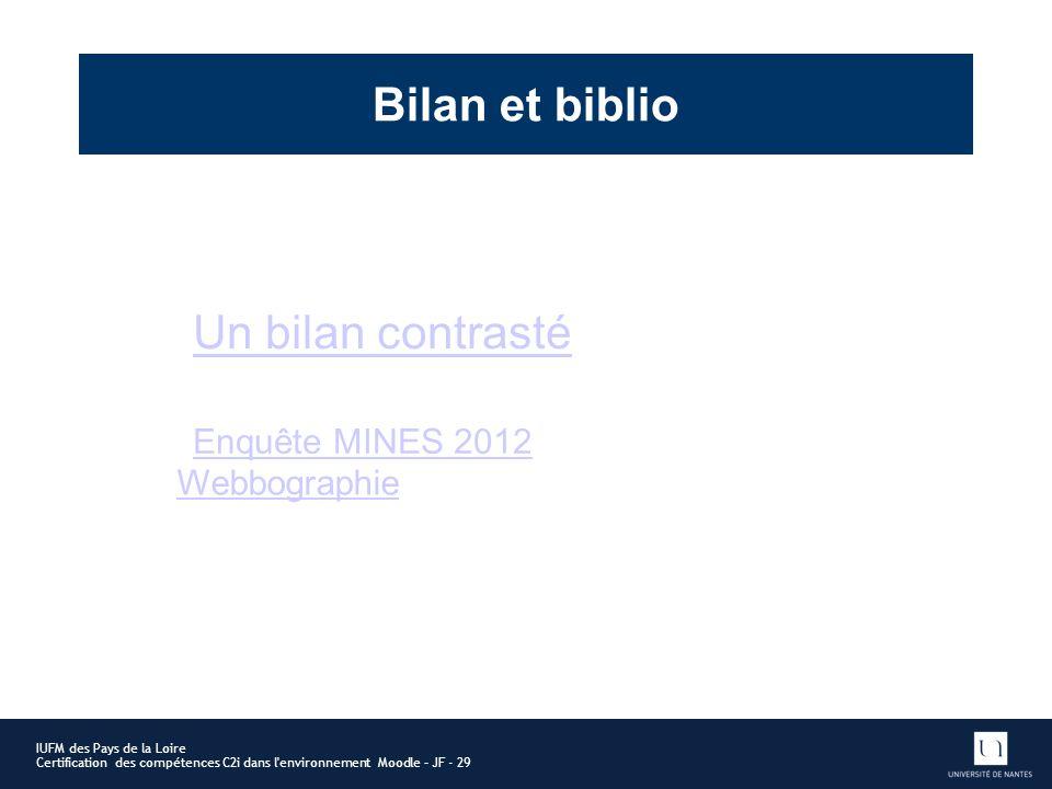 IUFM des Pays de la Loire Certification des compétences C2i dans l'environnement Moodle – JF - 29 Bilan et biblio Un bilan contrasté Webbographie Enqu