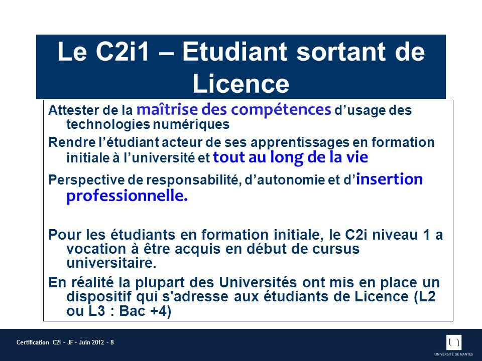 Le C2i1 – Etudiant sortant de Licence Attester de la maîtrise des compétences dusage des technologies numériques Rendre létudiant acteur de ses appren