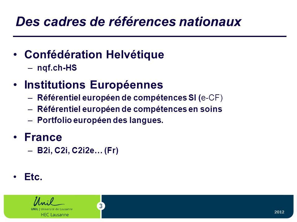 Des cadres de références nationaux Confédération Helvétique –nqf.ch-HS Institutions Européennes –Référentiel européen de compétences SI (e-CF) –Référe