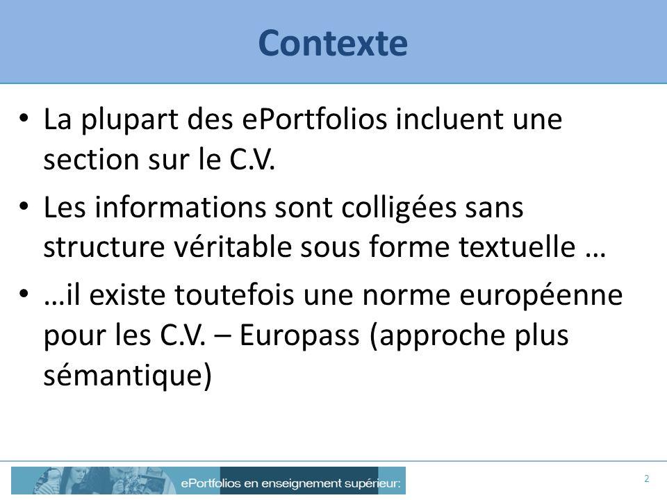 Contexte La plupart des ePortfolios incluent une section sur le C.V. Les informations sont colligées sans structure véritable sous forme textuelle … …