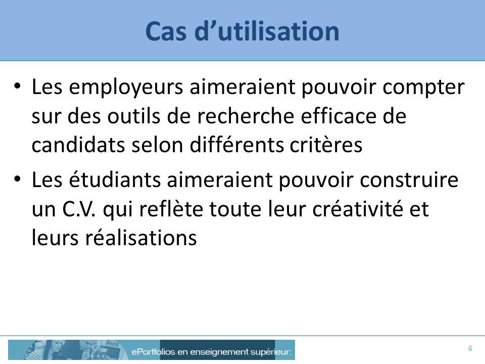 Cas dutilisation Solution possible : les employeurs ont accès à des données normalisées pour des recherches efficaces … …mais peuvent consulter des ePortfolios/C.V.