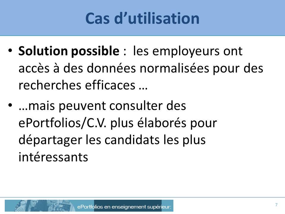 Cas dutilisation Solution possible : les employeurs ont accès à des données normalisées pour des recherches efficaces … …mais peuvent consulter des eP