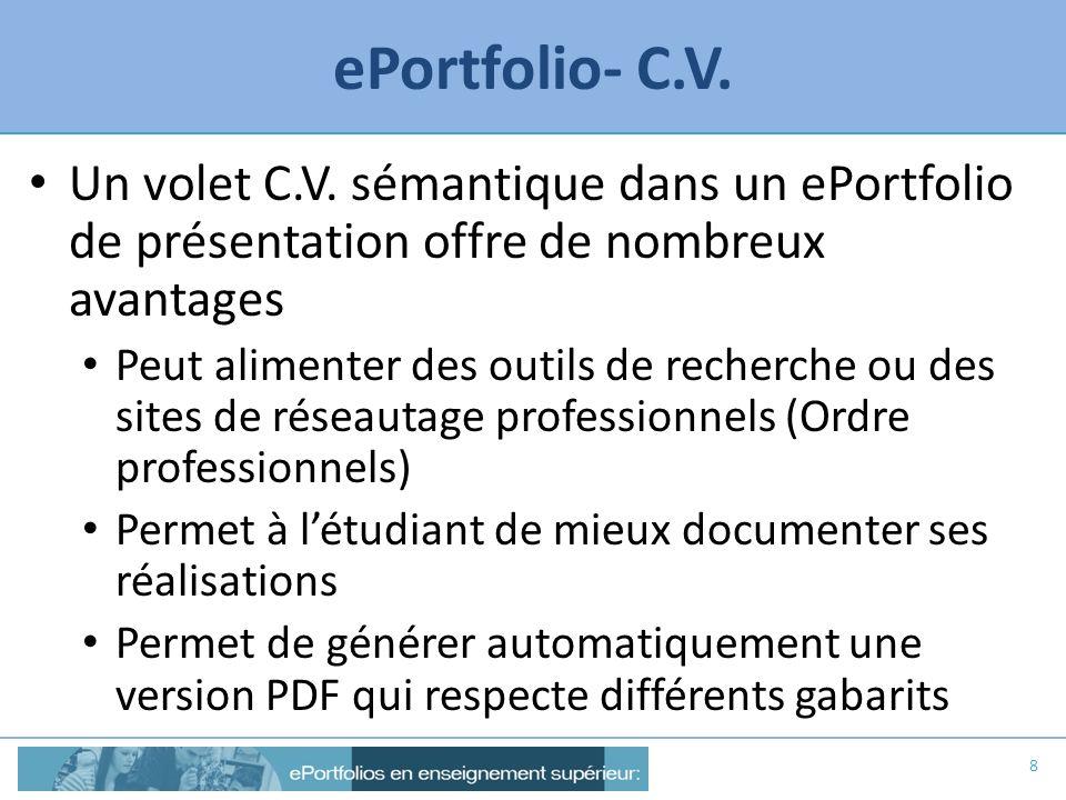 ePortfolio- C.V. Un volet C.V. sémantique dans un ePortfolio de présentation offre de nombreux avantages Peut alimenter des outils de recherche ou des