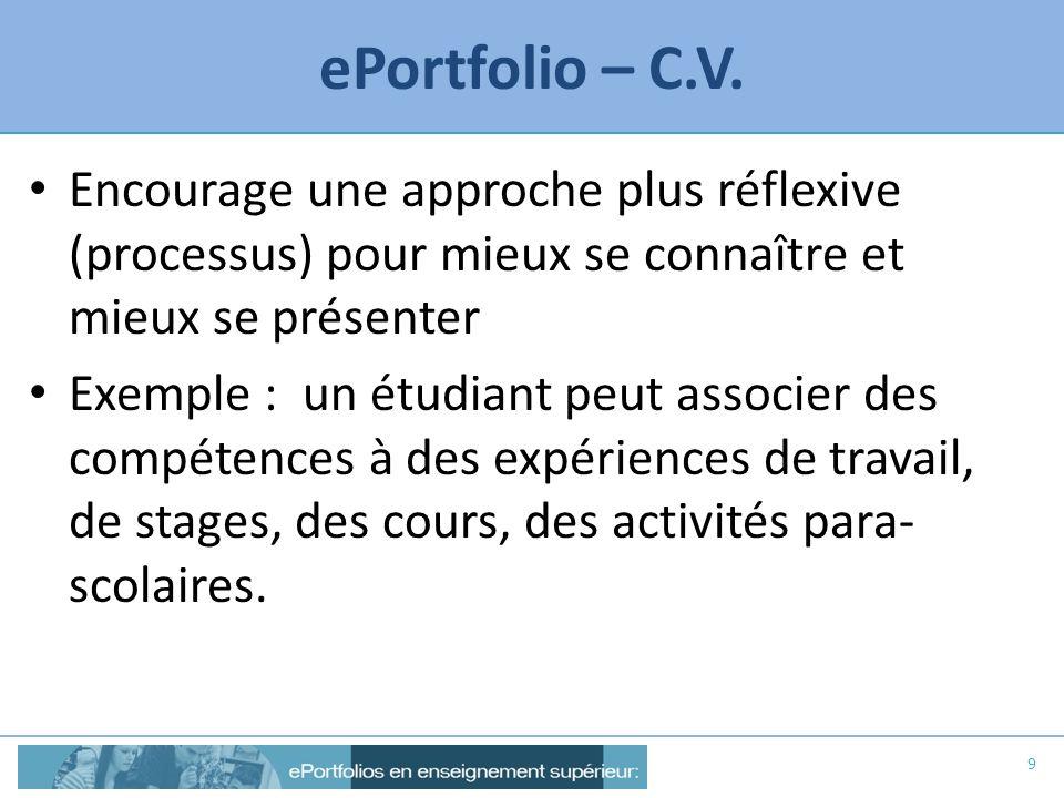 ePortfolio – C.V. Encourage une approche plus réflexive (processus) pour mieux se connaître et mieux se présenter Exemple : un étudiant peut associer