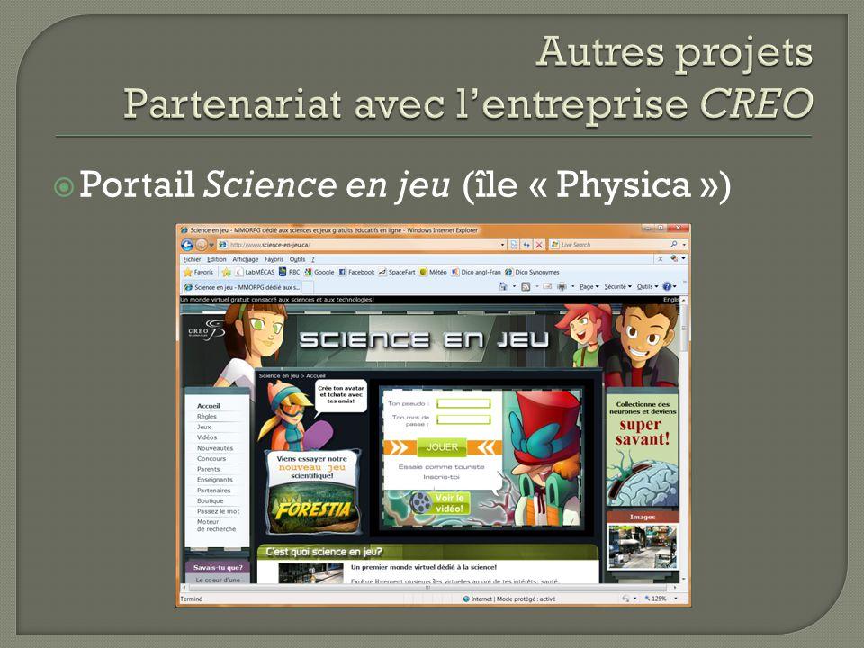 Portail Science en jeu (île « Physica »)