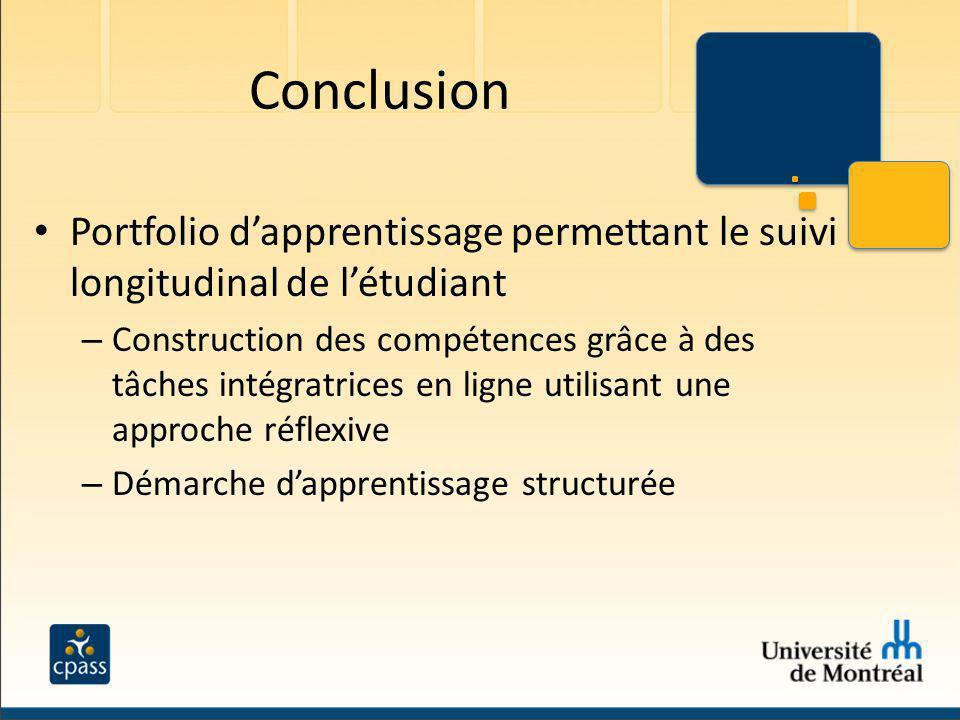 Conclusion Portfolio dapprentissage permettant le suivi longitudinal de létudiant – Construction des compétences grâce à des tâches intégratrices en l